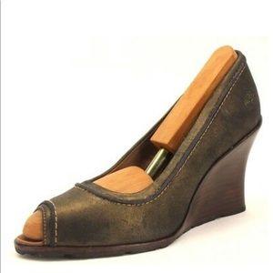 Timberland Metallic Bronze Leather Wedge Heels 🔥